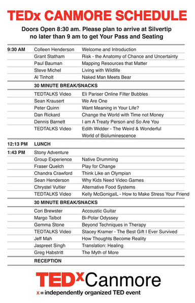 TEDx Canmore Schedule